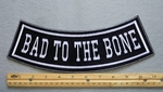 346 L - BAD TO THE BONE BOTTOM ROCKER - EMBROIDERY PATCH - WHITE - FREE SHIPPING!