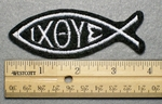 1022 L - IXOYE Fish Embroidery Patch - White Border White Letters