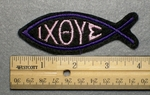 1021 L - IXOYE Fish Embroidery Patch - Purple Border Pink Letters