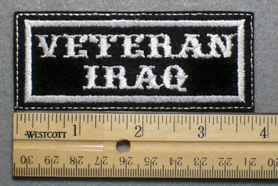 699 L - VETERAN IRAQ -  Embroidery Patch - White Border White Letters