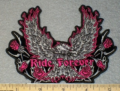 1818 N - Ride Forever - Pink and Silver Eagle - Embroidery Patch