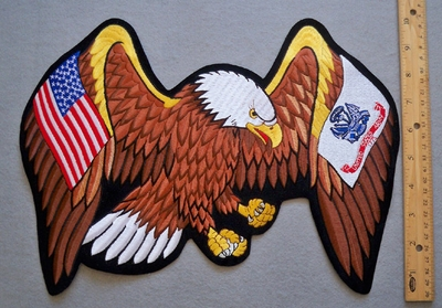 645 R - LARGE EAGLE WITH USA AND ARMY FLAG WINGS - FREE SHIPPING!