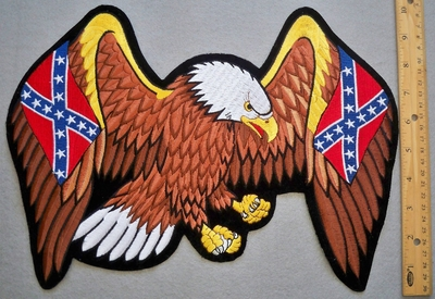 646 R - discontinued Large Eagle With Confederate Flags In Wings - Back Patch - Embroidery Patch -