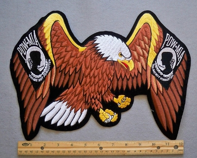 647 R - LARGE EAGLE WITH POW FLAG WINGS - FREE SHIPPING!