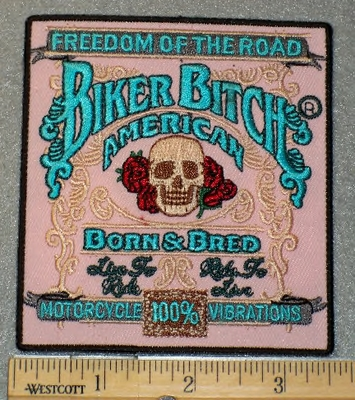 1835 G - Biker Bitch Square Patch - Embroidery Patch