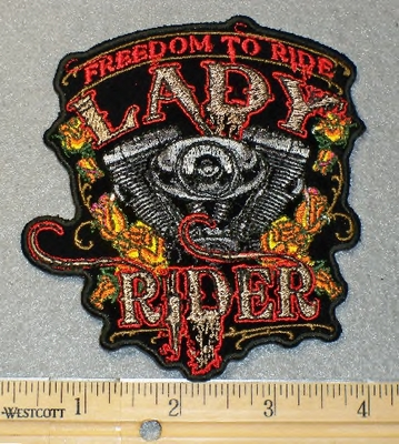 1846 G - Freedom To Ride - Lady Rider - Embroidery Patch