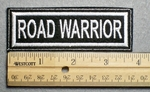 1124 L - ROAD WARRIOR - Embroidery Patch - White Border White Letters