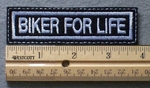 1054 L - BIKER FOR LIFE - Embroidery Patch - White Border White Letters