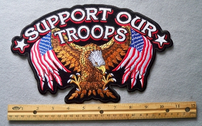 825 G - 11' Support Our Troops Eagle Embroidery Patch