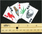 224 N - FOUR ACES GIRLS LIQUOR WEED SKULL - EMBROIDERY PATCH