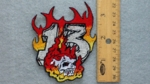257 N - FIREY 13 WITH SKULL - EMBROIDERY PATCH