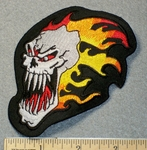 1536 N - Skullface With Flames - Embroidery Patch