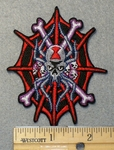 1534 N - Skull With Bone Cossing In Spider Web - Embroidery Patch