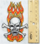 232 N - BURNING SKULL AND CROSSBONES - EMBROIDERY PATCH