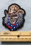 824 G - Skull Face With Confederate Bandana And Cowboy Hat - Embroidery Patch