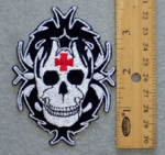 265 N - TRIBAL SKULL WITH IRON CROSS - EMBROIDERY PATCH