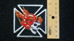 249 N - FLAMING SKULL ON IRON CROSS - EMBROIDERY PATCH