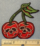 1540 N - Double Cherries With Skulls - Embroidery Patch