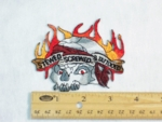 204 N - STEWED SCREWED AND TATTOOED FLAMING SKULL - EMBROIDERY PATCH