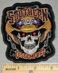 1820 N - Southern Discomfort - Skull Face With  Confederate / Rebel Cowboy Hat -  3 Inch - Embroidery Patch
