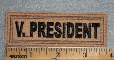 1672 L - V President - Light Brown Backgorund - Embroidery Patch