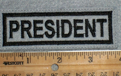 1662 L - President - Gray Background - Embroidery Patch