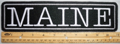 """486 L - 11"""" MAINE - EMBROIDERY PATCH - GRAY - FREE SHIPPING!"""
