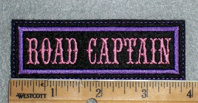 1666 L - Road Captain - Pink Lettering - Embroidery Patch