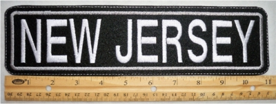 "492 L - 11"" NEW JERSEY - EMBROIDERY PATCH - GRAY - FREE SHIPPING!"