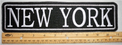 "494 L- 11"" NEW YORK - EMBROIDERY PATCH - GRAY - FREE SHIPPING!"