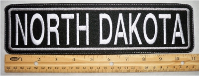 "496 L - 11"" NORTH DAKOTA - EMBROIDERY PATCH - GRAY - FREE SHIPPING!"