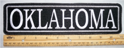 "498 L- 11"" OKLAHOMA - EMBROIDERY PATCH - GRAY - FREE SHIPPING!"