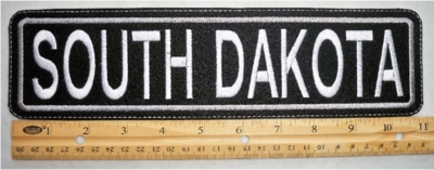 "503 L - 11"" SOUTH DAKOTA - EMBROIDERY PATCH - GRAY - FREE SHIPPING!"