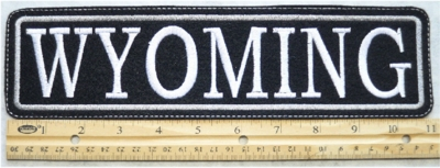 """515  L - 11"""" WYOMING - EMBROIDERY PATCH - GRAY - FREE SHIPPING!"""