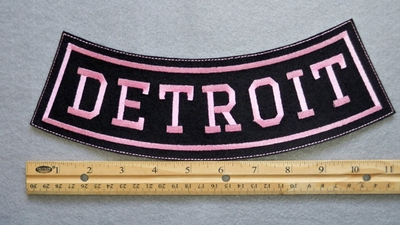 DETROIT BOTTOM ROCKER - EMBROIDERY PATCH - PINK - FREE SHIPPING!