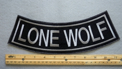 362 L - LONE WOLF BOTTOM ROCKER - EMBROIDERY PATCH - GRAY - FREE SHIPPING!