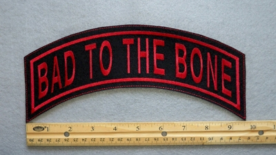 347 L - BAD TO THE BONE TOP ROCKER - EMBROIDERY PATCH - RED - FREE SHIPPING!