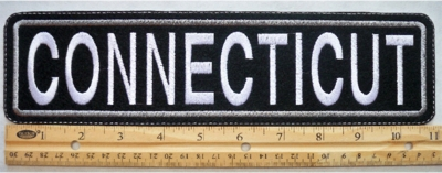 "475 L - 11"" CONNECTICUT - EMBROIDERY PATCH - GRAY - FREE SHIPPING!"