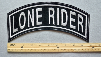 "370 L - LONE RIDER 11"" TOP ROCKER - EMBROIDERY PATCH  - WHITE - FREE SHIPPING!"