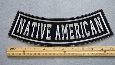 363 L - NATIVE AMERICAN BOTTOM ROCKER - EMBROIDERY PATCH - WHITE - FREE SHIPPING!