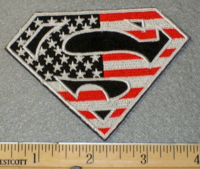 1864 C - Superman Symbol In American Flag Design - Embroidery Patch