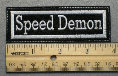 688 L - Speed Demon - Embroidery Patch - White Border White Letters