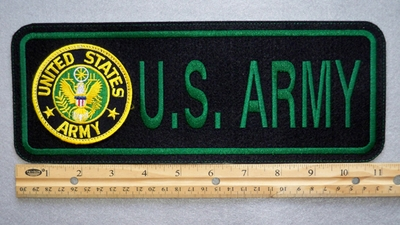 "414 L - US ARMY 11"" - EMBROIDERY PATCH WITH SEAL - GREEN - FREE SHIPPING!"