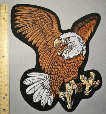 2097 R - Brown Winged Bald Eagle - Large Back Patch - Embroidery Patch