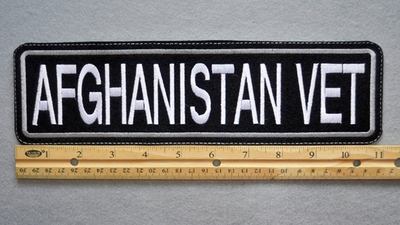 "421  L- AFGHANASTAN VET 11"" - EMBROIDERY PATCH - WHITE AND GRAY - FREE SHIPPING!"