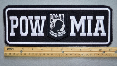 "412 L - POW MIA 11"" - EMBROIDERY PATCH - WHITE FREE SHIPPING!"