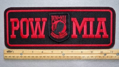 "416 L - POW MIA 11"" - EMBROIDERY PATCH - RED - FREE SHIPPING!"