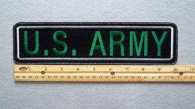 "437 L - US ARMY 11"" - EMBROIDERY PATCH - WHITE AND GREEN - FREE SHIPPING!"