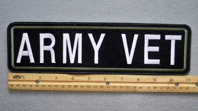 427 L - ARMY VET - EMBROIDERY PATCH - GREEN AND WHITE - FREE SHIPPING!