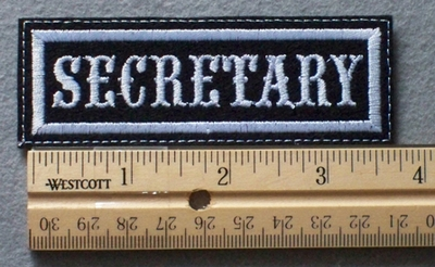 1075 L - SECRETARY - Embroidery Patch - White Border White Letters